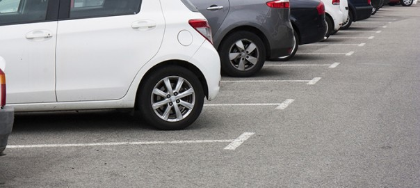 Cars in the parking lot in row