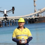 Alcoa senior technologist (IT) and chief UAV pilot Andrew King demonstrates use of drone