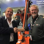 Eric Bruggeman with Kal Tire's Mining Tire Group innovation and R&D manager Peter Nilsson. Image: Kal Tire
