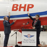 The unveiling of BHP branding on RFDS aircraft 'Bravo'. Image: BHP