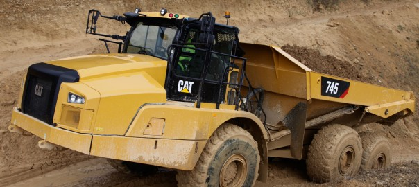 Articulated trucks can benefit from the use of the inclinometer. Image: Caterpillar