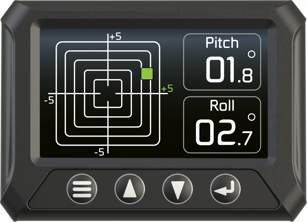 The devices allow operators to monitor the pitch and roll of a machine.