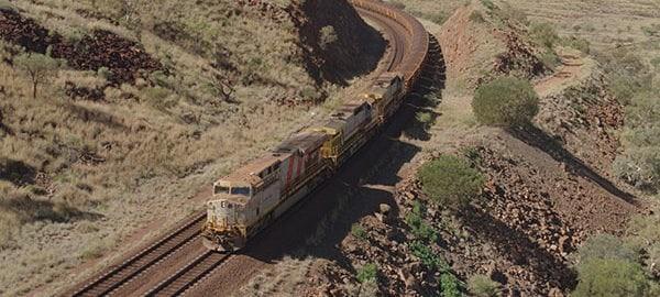 The AutoHaul loaded train. Image: Rio Tinto